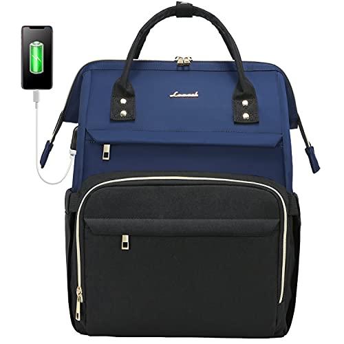 LOVEVOOK Rucksack Damen mit Laptopfach 15,6 Zoll, Laptop Rucksack wasserdicht, Schulrucksack Tasche mädchen mit USB Ladeanschluss, Marineblau Schwarz