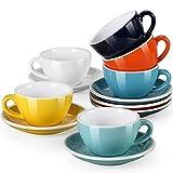 LOVECASA Juego de Café de Porcelana 12 piezas, 200 ml, 6 Tazas y 6 Platillos, Tazas de Capuchino set de Café con leche Te Chocolate Diseños Moderno Coloridos