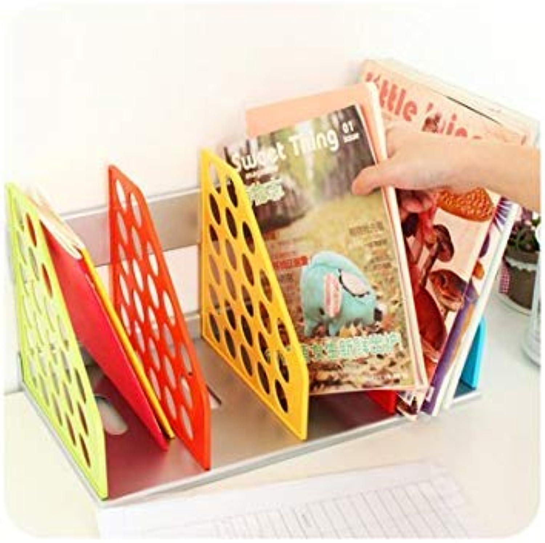 Generic Multi   Creative colorful Book Shelf File Magazine Holder Rack Desktop Plastic Storage Shelving Organizer Box for Office Home Storage