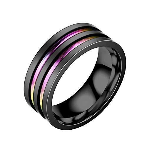 Anillos Yialatoe para mujer, acero de titanio, color negro, anillo de dos tonos, anillo de pareja de acero inoxidable, regalo de joyería para el Día de San Valentín