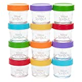 WeeSprout Glass Baby Food Storage Jars - 12 Set, 4 oz Baby Food Jars with Lids, Freezer Storage, Reusable Small Glass Baby Food Containers, Microwave & Dishwasher Friendly, for Infants & Babies