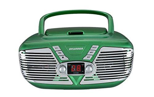 Sylvania Portable CD Boombox with AM/FM Radio, Retro Style, (Green) (SRCD211-GREEN)