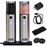 Prime Rechargeable Electric Salt and Pepper Grinder Set, 2 Mills, Contain Charging Base, USB Cable, Power Adapter, Built-in Battery, Automatic Tact Switch Operation, Adjustable Coarseness, LED Light