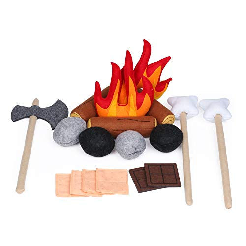 UANDME 21pcs Pretend Camping Play Set Safe Campfire Toys for Kids Dramatic Play Toys for Boys and Girls Doll Camping for Preschoolers