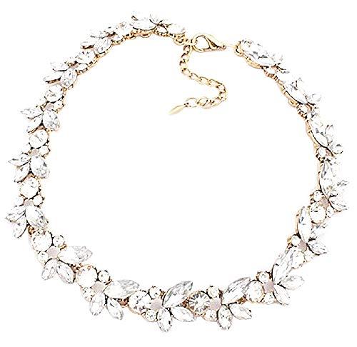 Vrouwelijke ketting - vrouw - kristallen - choker - transparant - stenen - bladeren - lichtpunten - meisje - bloemen - kerst - origineel cadeau-idee - sierraden - verjaardag - goud - sieraden
