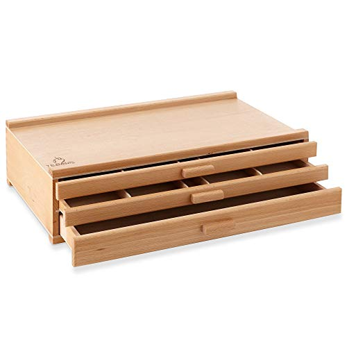 7 Elements 3 Drawer Beechwood Artist Storage Supply Box for Pastels, Pencils, Pens, Markers, Brushes, Tools