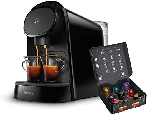 LM8012/60 Barista - Cafetera compatible con cápsula individual/doble, 19 bares presión, depósito 1L, color negro