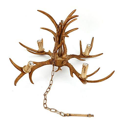 Geweih Kronleuchter Yunrux 4 en 1 vela, tipo de cornamenta de ciervo, lámpara de cuernos de cuernos de cuernos de salón, lámpara de techo retro vintage, lámpara de techo antigua, E14 (sin bombilla)