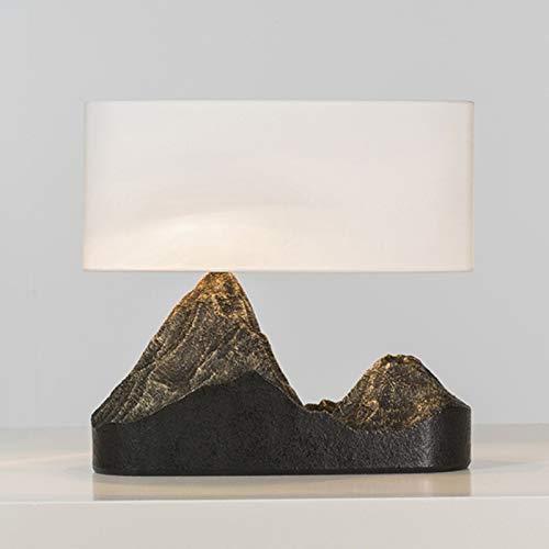 "Lámpara de mesa Lámpara de mesa montaña Tipo de Resina Art Deco lámpara de cabecera con la tela blanca Shade, 15.7"" L x 15"" H Lámpara Escritorio"