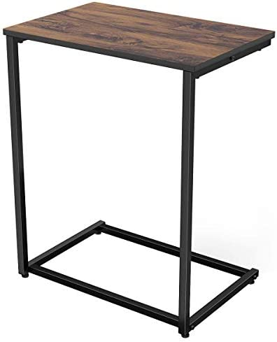 Best Homemaxs C Table Sofa Side End Table Wood Finish Steel Construction 26-Inch for Small Space