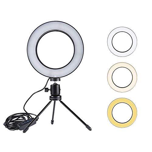 LEDリングライト 三脚スタンドとスマートフォンホルダー付き 6 inchチリングライト Youtubeビデオ撮影用の...