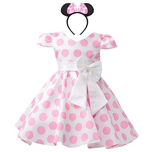 Costume da Principessa Minnie Polka Dots per Bimba con Vestito Lungo Compleanno Ballerina Abiti Bambina Carnevale Halloween Abito Festa Cerimonia Comunione Nozze Sera Pageant Rosa 2-3 Anni