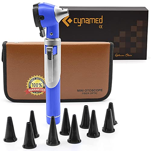 Cynamed Mini Otoscope - Portable Ear Light and Exam Kit for Home and Professional Use - 3X Magnifying Fiber Optic Scope with Spare Tips, Bulb, and Carrying Case - Pocket Diagnostic Equipment (Blue)