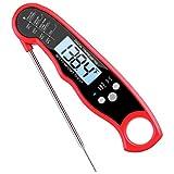 Criacr Termometro Digital Cocina Impermeable con Sonda Largo, Termómetro de Carne para Barbacoa, Comida, Pavo, Caramelo, Leche, Agua, Encendido/Apagado Automático, (Rojo)