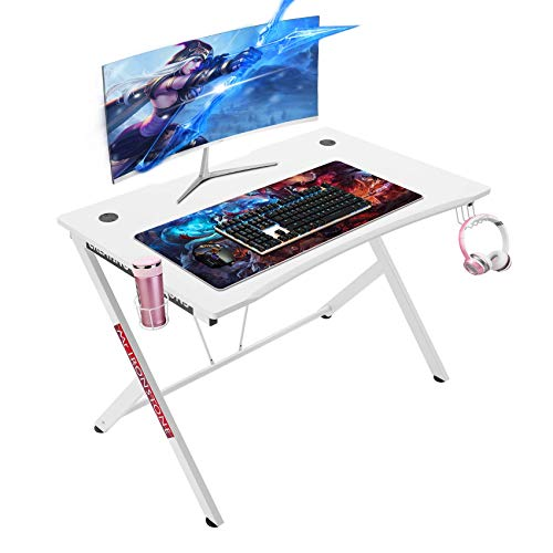 Mr IRONSTONE White Gaming Desk 45.3' Gaming Table Home Computer Desk with Cup Holder and Headphone Hook Gamer Workstation Game Table (45.3' Wx29 D) (White)