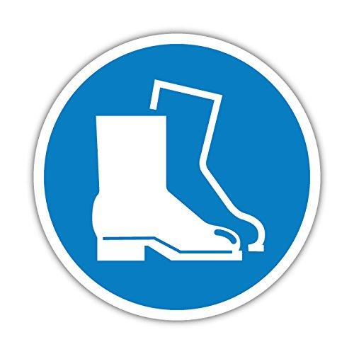 Aufkleber Gebotszeichen Fußschutz benutzen - Sicherheitsschuhe Tragen 10cm (1)
