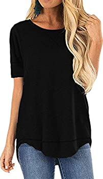 CoolooC Summer Tops for Women Short Sleeve Side Split T Shirts Casual Loose Tunic Tops