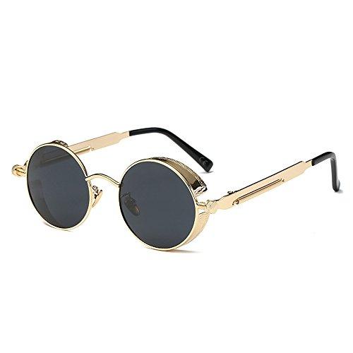 AMZTM Kleine Rund Verspiegelt Linsen Polarisiert Punk Sonnenbrille für Damen und Herren (Golden Rahmen und Grau Linse, 48)