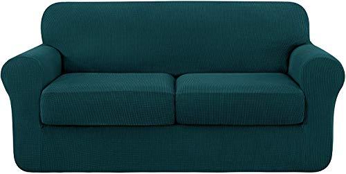 subrtex 2 Plazas Funda de Sofá de con 2 Cojines de Asiento Separados de Alta Elasticidad para Sillón Anti Arañazos Protector de Muebles Lavables Lavable en Lavadora (2 Plazas, Azul Verde)
