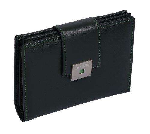 "Große Damenkombibörse aus der ""LEMONDO"" Serie, in Echt-Leder, grün, 11x14x2,5cm"