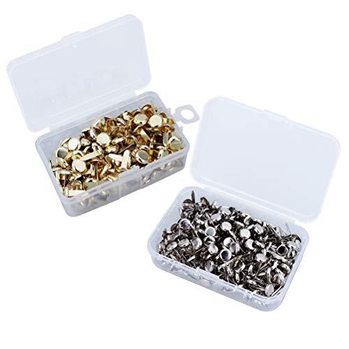 Healifty 500pcs Metal Brad Sujetador de Papel Mini Scrapbooking Brads Metal Redondo Brads con Caja de Almacenamiento para Manualidades de Bricolaje (Plata y Oro)
