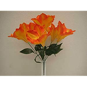 for 2 Bushes Orange Amaryllis Artificial Silk Flowers 16″ Bouquet 6-647OR Floral Décor Home & Garden