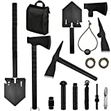 Yeacool Survival Kit Tactical, Off-Roading Tool, Camping Axe Multitool, Folding Shovel, Military Pickaxe with Molle Carrying Bag, for Car Emergency Outdoor