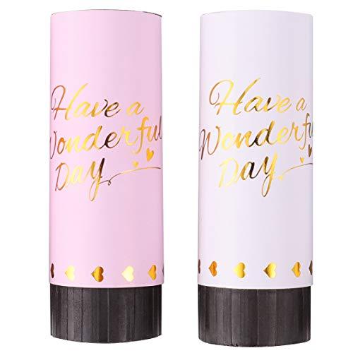 TOYANDONA 4Pcs Canons à Confettis Fête Poppers Mariage Confettis Multicolores Lance des Poppers Confettis pour Les Fêtes Anniversaires Mariages Blanc Rose