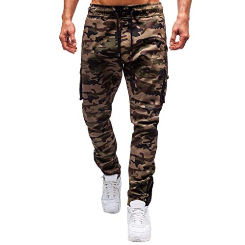Affordable Mens Sweatpants, F_Gotal Men's Casual Camouflage Printed Multi-Pocket Overalls Sports R...