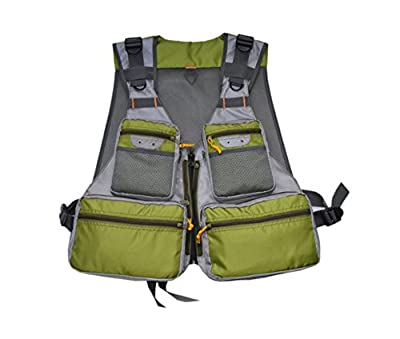 MDSTOP Fly Fishing Vest, Pockets Jacket, Outdoor Quick-Dry Net Vest, Fishing Hunting Waistcoat, Travel Photography Mesh Vest, Adjustable Size with 14 Pockets from MDSTOP