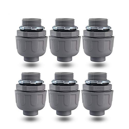 YXX-TECH 3/4 Npt Nonmetallic Liquid-Tight Electrical Conduit Connector Fitting,,UL Listed, (6 PACK) (3/4)
