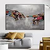 Manos creación de Adam pinturas en lienzo reproducciones clásico famoso lienzo cuadros de arte de pared para la decoración de la sala de estar del hogar 60x80 CM (sin marco)