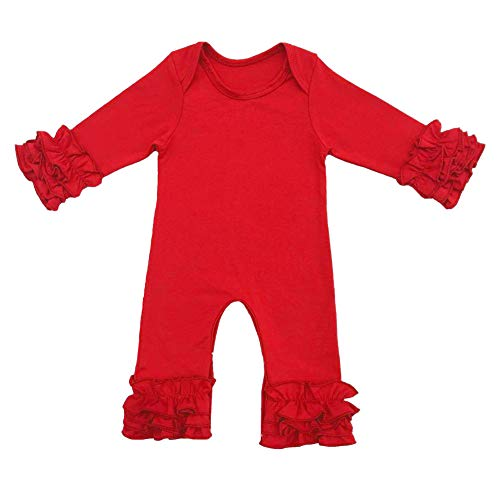 Icing Ruffle Jumpsuit Pants for Toddler Baby Girls Christmas Romper Triple Ruffled Bottoms Solid Long Sleeve Pajamas Nightwear Homewear Summer Fall Playwear Birthday Outfit Party Clothes Red 6-9M