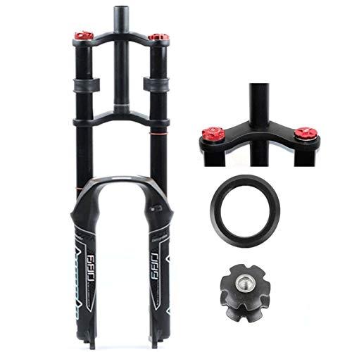 "MZP DH Bike Suspension Fork 26/27.5/29"" for Mountain Bike Air Double Shoulder Downhill Rappelling Shock Absorber Travel 130mm Damping Disc Brake QR MTB/AM/FR (Color : A-Black, Size : 26in)"