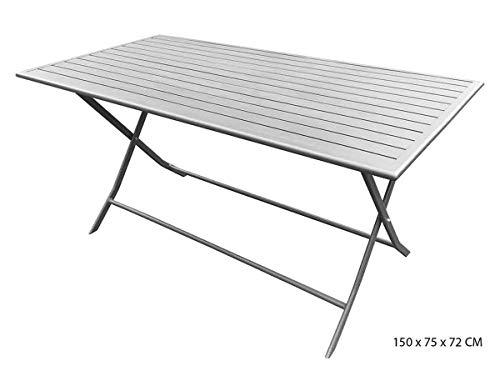 PEGANE Table rectangulaire Pliante Coloris Gris Mat en Aluminium - 150 x 75 x 72 cm