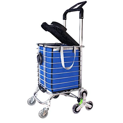 Yxsd Carrello Spesa Leggero - Maniglia Regolabile, rimorchio per Cabina a Tre Ruote rampicante in Alluminio con Coperchio Pieghevole