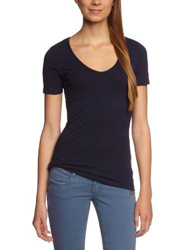 Garage Damen T-Shirt Slim Fit 702 - T-shirt V-neck bodyfit, Gr. 38 (M), Blau (navy 400)
