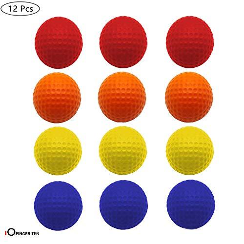 FINGER TEN Golf Übungsbälle Trainingsbälle 12 Stück Golfbälle Trainings Heimgebrauch Im Freien Garten Rot Orange Gelb Blau Für Damen Herren Kinder (Vier Farben, 12 Stück)