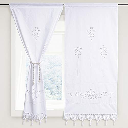 DOKOT White Cafe Curtain Embroidered Floral Cotton French Country Victorian Panel Window Curtain with Crochet Tassel, 27 x 59 inches, 2-Panels