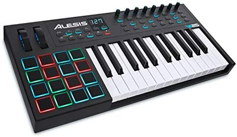 Alesis VI25 | 25-Key USB MIDI Keyboard Controller with 16 Pads, 16 Assignable Knobs, 48 Buttons and 5-Pin MIDI Out Plus Production Software Included