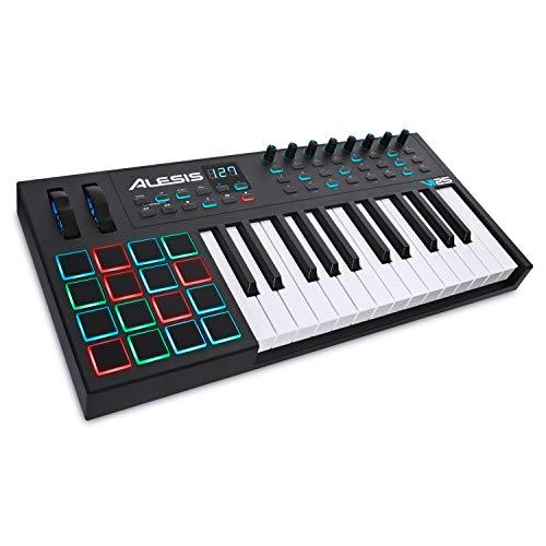 Alesis VI25 - 25 -Tasten-USB-MIDI-Keyboard mit 16 Pads, 8 zuweisbaren Reglern, 24 Knöpfen und 5-Pin-MIDI-Out, sowie einem professionellen Softwarepaket inklusive Pro Tools | First