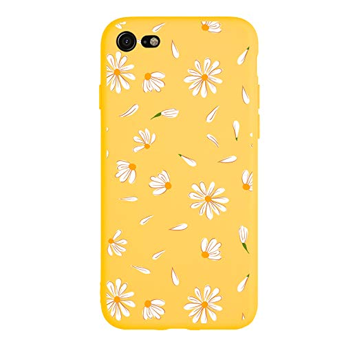 MAYCARI Cute Daisy Flower Case for iPhone SE 2020/iPhone 7/iPhone 8, Full Protective Soft Rubber Matte TPU Cover Slim Fit Phone Case for Women Girls - Yellow