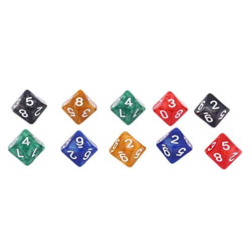 Kurphy Creative 10Pcs Multicolor Diez Caras Dados Digitales Acrílico Pearl Gemmed Dices (0-9) para Juegos de rol
