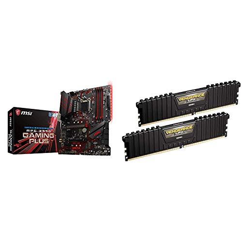 Msi MPG Z390 Gaming Plus Carte mère Intel Z390 Socket LGA1151 & Corsair Vengeance LPX 16Go (2x8Go) DDR4 3000MHz C15 XMP 2.0 Kit de Mémoire Haute Performance - Noir