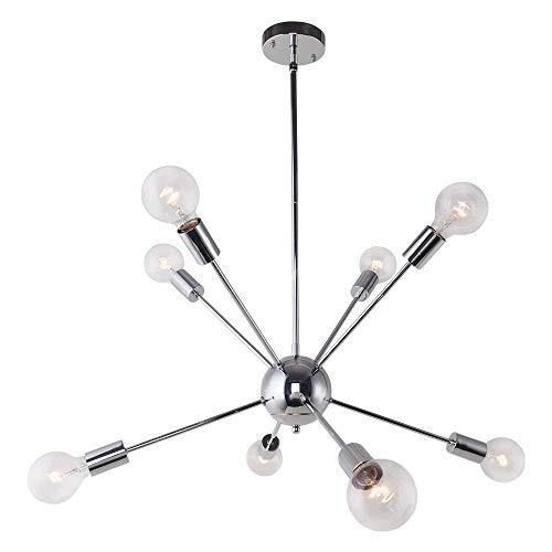 ENCOFT Sputnik Kronleuchter Silber Modern Deckenleuchte Pendelleuchte Hängelampe Chrome Metall mit 8 E27 Lampenfassung für Esszimmer Zimmer Wohnzimmer Küche (keine Glühbirnen)