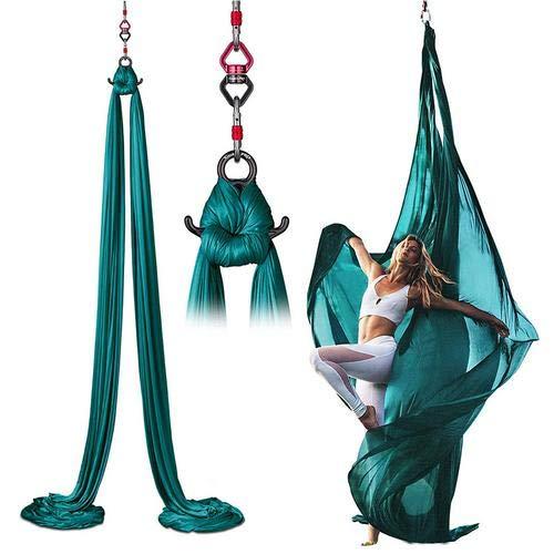 WXGY hamaca aérea de yoga de 8.7 yardas Premium de tela de seda aérea para yoga antigravedad, inversión incluye correa de extensión, hebilla de cuerno y hebilla de bloqueo de aleación de titanio