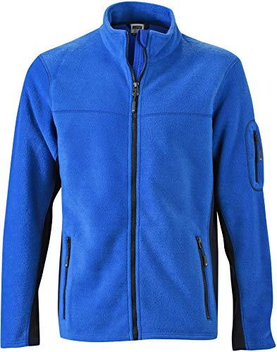 JAMES & NICHOLSON - Veste Polaire de Travail - Ouverture zippée - JN842 - Homme (Bleu Roi et Bleu Marine -4XL)