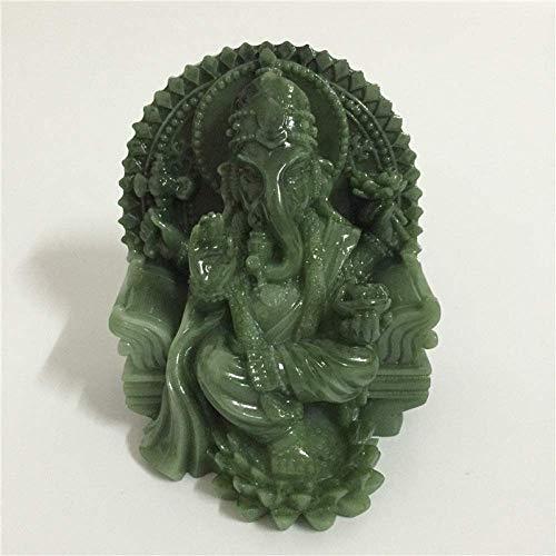 AMITD beeld sculptuur Ganesha beeld olifantengod Boeddha sculptuur figuur kunststeen gesneden decoratieve beelden voor hoofddecoratie Fengshui cadeau, groen