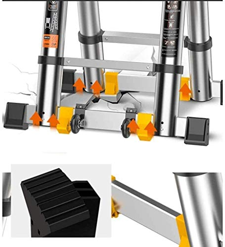 LXDZXY Escaleras, Escalera de Extensión Telescópica de Aluminio con Ganchos, Escalera Extensible con Mecanismo de Bloqueo con Resorte, Acanalado Antideslizante Capacidad de 330 Libras/3 M / 7,5 Pies