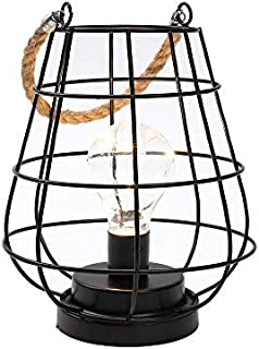 "JHY DESIGN 8.5"" Cage Bulb Lantern Decorative Lamp Battery Powered Cordless Accent Light with Warm White Fairy Lights LED Edison Bulb Lamp for Living Room Bedroom Kitchen Wedding & Christmas (Black)"